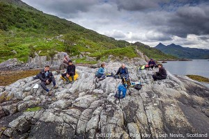 Lunchtime between dives by the side of Loch Nevis